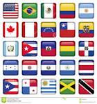 le bandiere americane hanno quadrato le icone fotografie stock