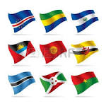 set of vector images of hearts with the flags of burkina faso