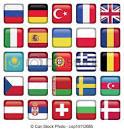 vector de europa iconos ajustado banderas cremallera incluye