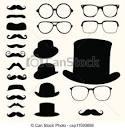 vector de bigotes sombreros anteojos conjunto retro bigotes