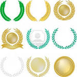 verdes coronas de laurel ilustraciones vectoriales clip art