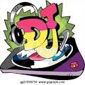 stock illustration dj design with record vinyl and ear phones