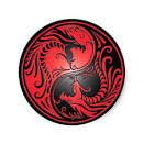 dragones rojo y negro de yin yang pins de zazzle