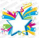 tridimensional estrellas tema colorido vector de material