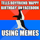tells boyfriend happy birthday on facebook using memes