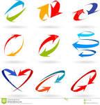 flechas coloridas d fijadas imagenes de archivo imagen
