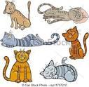 vector clip art de feliz sonoliento gatos caricatura conjunto