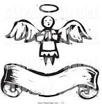 illustration vector of ablack and white praying angel with wings