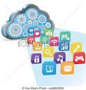 ilustraciones de vectores de nube informatica aplicaciones eps