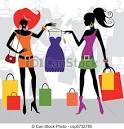 clipart vectorial de moda compras mujeres dos moda compras