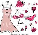 vector clip art de moda retro rojo iconos accesorios romance