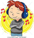 vector of listening to music a boy listening to music with