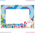 clipart illustration of a stationery border of banners gifts a