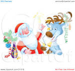 clipart illustration of st nick and a reindeer getting drunk and