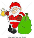 stock illustration of santa claus with beer hand drawn cartoon