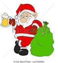 stock illustration of santa claus with beer hand drawn cartoon