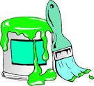 paint can with brush vector clip art