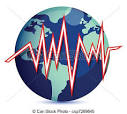 clipart vector of globe and earth quake lines illustration