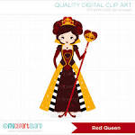 red queen queen of hearts clip art digital by myclipartstore