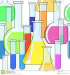 abstract background with motley chemical glassware royalty free