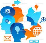 fondo de la red social con los iconos de los medios de