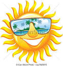 clipart vector of cheerful sun in sunglasses with the reflection