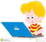 muchacho con una computadora portatil imagen de archivo imagen