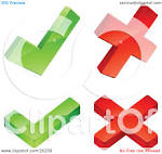 clipart illustration of two green check marks and two red x marks